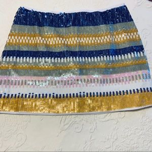 Ungee blue and  yellow sequined miniskirt size S
